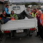 Catlins Promotions members (from left) Paddy Chrisp (lying down), Jessie Clark, Taylor Clark,...