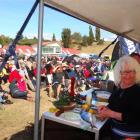 Celebrity chef Fleur Sullivan, of Moeraki,  greets the crowd of more than 600 who turned out to...