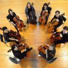 Cellists of Otago (clockwise from bottom left): Heleen Du Plessis (concert leader), Myles Chen,...