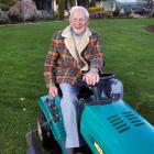 Centenarian Arthur Wilson still regularly does his nephew's lawns. Photo by Gerard O'Brien.