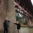 Central Otago Mayor Tony Lepper (left) and council roading engineer Scott Graham ''prop up'' the...