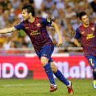 Cesc Fabregas celebrates next to team mate David Villa after he scored against Valencia. REUTERS...