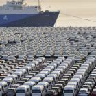 Chinese cars wait to be exported at a port in Dalian, Liaoning province. Photo by Reuters.