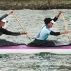Claire Sykes (left) and Karen Skilton compete in the masters open women's 10km doubles race on...