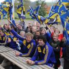 Class 4 at Heriot School pose with Highlanders, from left,  Kendrick Lynn, Kurt Baker, Adam...