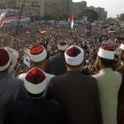 Clerics supporting deposed Egyptian president Mohamed Morsi attend a rally in the Raba El-Adwyia...