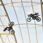 Clinton Moore (left) and Jarryd McNeil take a ride on the wild side during the Nitro Circus show...
