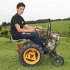 Clinton teenager Spencer Bungard (15) has been building this miniature tractor from spare parts.