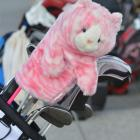 Clubs at the New Zealand Open protected by a glove puppet. Photo by Peter McIntosh.