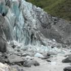 Collapsed ice at the terminal face of the Fox Glacier in South Westland. Photo: Department of...