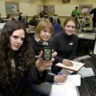 "Columba College pupils Amy Anderson, Lee White and Anna Fields hope their idea of using ""Sun..."