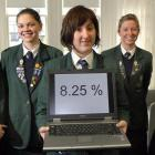 Columba College pupils (from left) Erin Wilson (17), Kari Schmidt (17) and Laura Manson (18)....