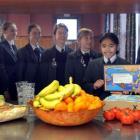 Columba College pupils (from left) Holly Cadzow (14), Angela Jenks (13), Katie Swire (13), Alice...