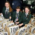 Columba College pupils (from left) Sarah Dippie (17), Claire Anglin (17) and Amelia Wright-Sear ...