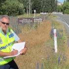 Community Constable Bruce Dow, of Oamaru, on SH8 near the Omarama Stream bridge where a cyclist...