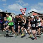 Competitors  spring away  from the start of the 2015 Kelly's Canter at Palmerston on Sunday....