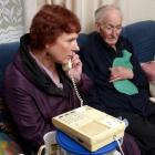 Concerned Dunedin resident Sue Harvey speaks to HealthCare New Zealand Dunedin manager Graeme...