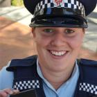 Constable Jo Ammundsen is one of 15 Dunedin police officers testing  new personal safety devices....