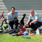 Constable Sam Williams (left) and Senior Constable Gordy Pay are hoping to return these items to...
