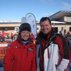 Coronet Peak Ski instructor Michele Fuller (left) with one of her students, Christopher Kingsley...
