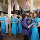 Costume-fitting bridesmaids (from left) Maryanne Smyth, Claire Dougan, Serena Cotton, Lizzie...