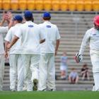 The long march . . . Otago players celebrate the dismissal of Canterbury batsman Johann Myburgh,...