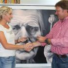 Cromwell artist Deidre Copeland receives a $5000 cheque from John Elsom of ABN Amro Craigs, in...