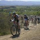 Cromwell rider James Stewart leads a pack up one of the rocky tracks in the hills above Alexandra...