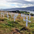 Crosses for soldiers who died during the Gallipoli campaign during World War 1, including Otago...