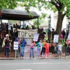 Crowds in the Octagon call for the Government to do what it can to end the Israeli offensive in...