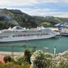 """Cruise ship """"Dawn Princess"""" visiting Dunedin in 2014. Photo by ODT."""