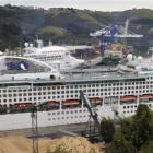 Cruise ships Dawn Princess (front) and Pacific Dawn (rear)  in Port Chalmers. Photo by Gerard O...