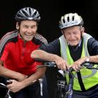 Cycling father and son (from left) Steve and Bill McGavock  were in Dunedin yesterday on their...