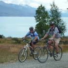 Cycling the Pukaki section of the Alps 2 Ocean Cycle Trail are (left) national cycle trail...