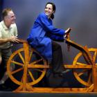 Exhibition manager Luigi Rizzo and exhibition designer Michelle Michael set up the museum's da...