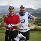 Daniel Bryant (left) and his caddy Noah Zitzei during round two of the 2015 BMW New Zealand Golf...