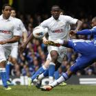 Daniel Sturridge of Chelsea attempts a shot on goal as Maynor Figueroa and Jean Beausejour of...