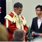 Dara Sor (top right) receives his citizenship papers from Dunedin Mayor Dave Cull. Photos by...