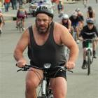 Dave Ditfort, of Oamaru, powers up Tyne St, into a stiff southerly, during the Oamaru Triathlon...