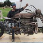 David Marchant, of Pukeuri, with his unfinished custom-made motorcycle made from a 1986 Honda...