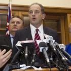 David Shearer announces at Parliament yesterday his decision to stand down as leader of the...