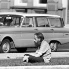 Deep in contemplation,  Baxter sits  on a traffic island near Queens Gardens  in 1970. Baxter was...