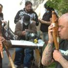 Demonstrating traditional instruments at the Taonga Puoro Workshop in Dunedin on Saturday while...