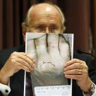 Dental expert Donald Adams gives evidence yesterday. Photo Pool.