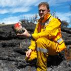Department of Conservation Wakatipu Rural Fire Officer Jamie Cowan holds one of the  fireworks...