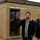 Otago Polytechnic students Dean Griffiths (front) and Charlotte McKirdy, and design lecturer...