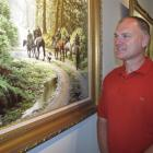 Director Richard Blakeley, of the newly launched Mountfort Gallery, beside the $60,000 painting,...
