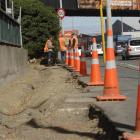 Discussing work on the State Highway 1 cycleway at South Dunedin this week are (from left) Bevin...