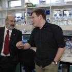 Distinguished medical researcher Sir Peter Gluckman (left) and Genetics Otago director Dr Peter...
