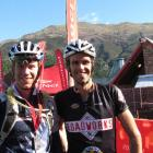 Dougal Allan (left) of Wanaka and Tim Wilding of Wellington at the end of the Contact Epic 125km...